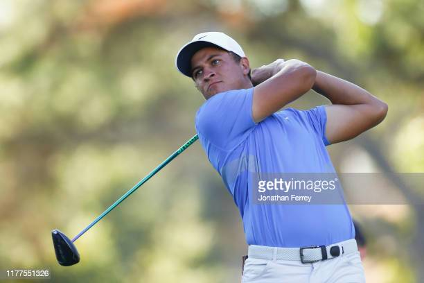 Cameron Champ hits on the 17th hole during the second round of the Safeway Open at Silverado Resort on September 27, 2019 in Napa, California.
