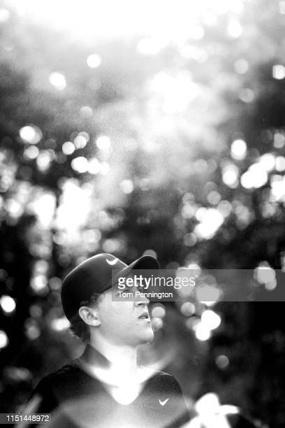 Cameron Champ of the United States looks on before playing his shot from the sixth tee during the second round of the Charles Schwab Challenge at...