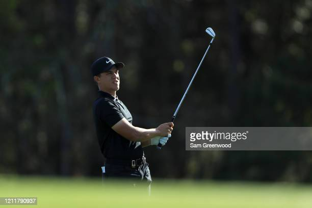 Cameron Champ of the United States plays a shot during a practice round prior to The PLAYERS Championship on The Stadium Course at TPC Sawgrass on...