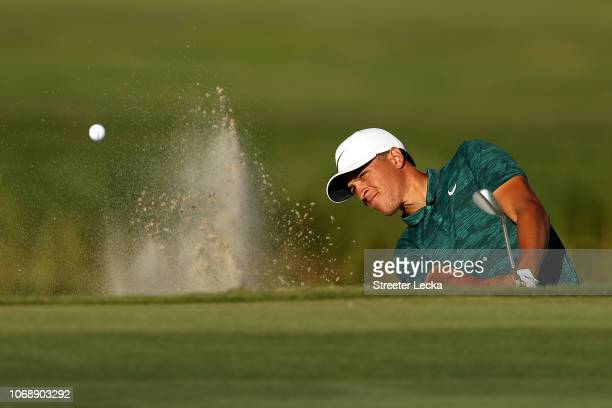 Cameron Champ of the United States plays a shot from a bunker on the 15th hole during the third round of the RSM Classic at the Sea Island Golf Club...