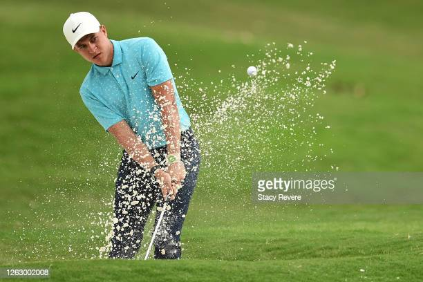Cameron Champ of the United States plays a shot from a bunker on the first hole during the second round of the World Golf Championship-FedEx St Jude...