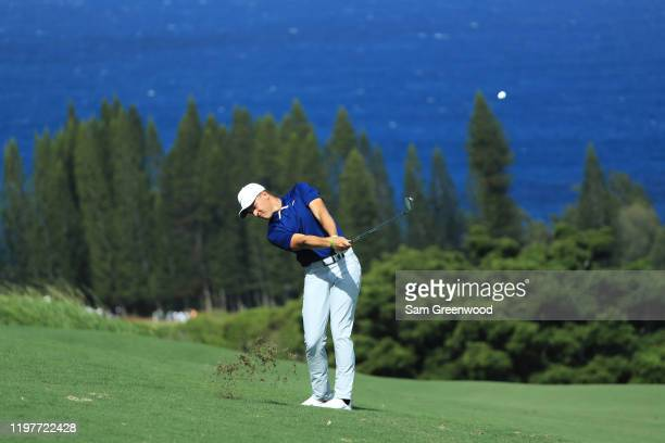 Cameron Champ of the United States plays a shot on the fourth hole during the final round of the Sentry Tournament Of Champions at the Kapalua...