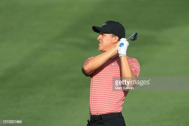 Cameron Champ of the United States plays a shot on the fourth hole during the first round of The PLAYERS Championship on The Stadium Course at TPC...
