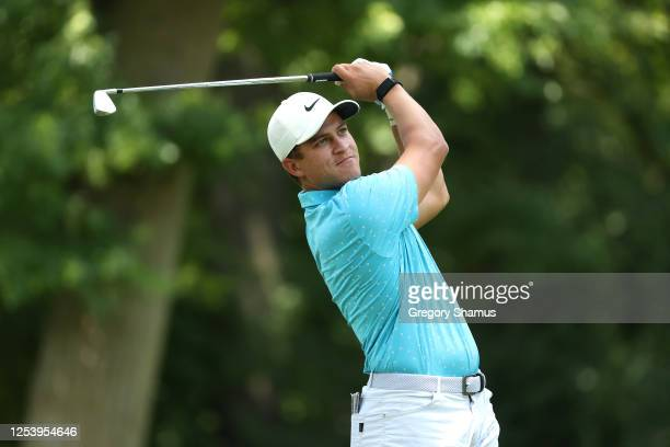 Cameron Champ of the United States plays his shot from the 11th tee during the first round of the Rocket Mortgage Classic on July 02, 2020 at the...