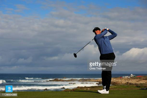 Cameron Champ of the United States plays his shot from the 13th tee during the second round of the ATT Pebble Beach ProAm at Monterey Peninsula...