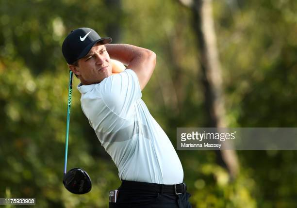 Cameron Champ of the United States plays his shot from the 15th tee during a continuation of the first round of the Sanderson Farms Championship at...
