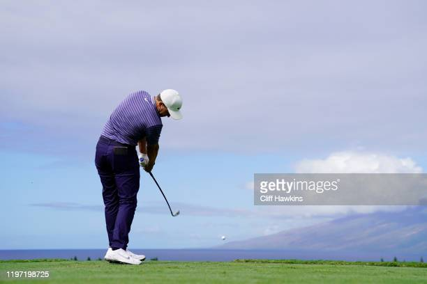 Cameron Champ of the United States plays his shot from the first tee during the first round of the Sentry Tournament Of Champions at the Kapalua...