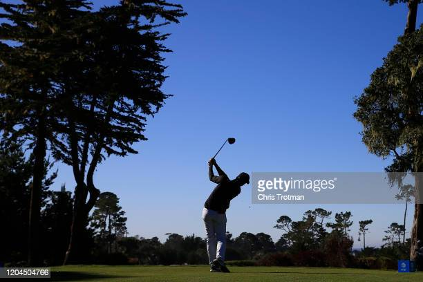 Cameron Champ of the United States plays his shot from the fourth tee during the first round of the ATT Pebble Beach ProAm at Monterey Peninsula...