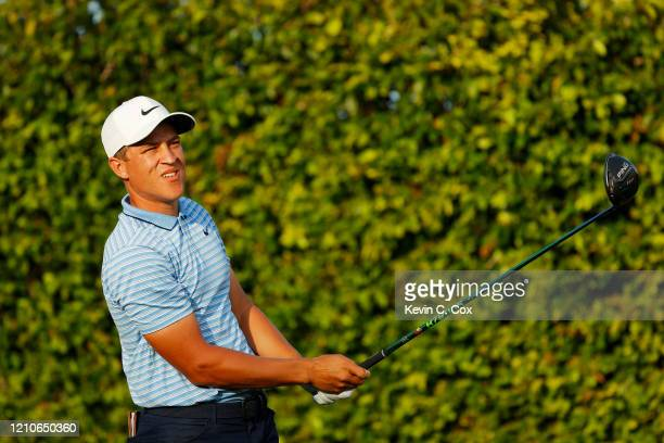 Cameron Champ of the United States plays his shot from the ninth tee during the first round of the Arnold Palmer Invitational Presented by MasterCard...