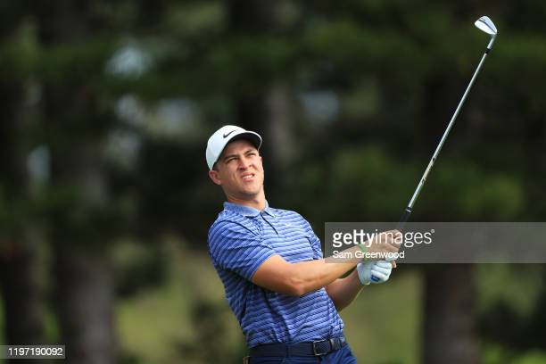 Cameron Champ of the United States plays his shot from the second tee during the first round of the Sentry Tournament Of Champions at the Kapalua...