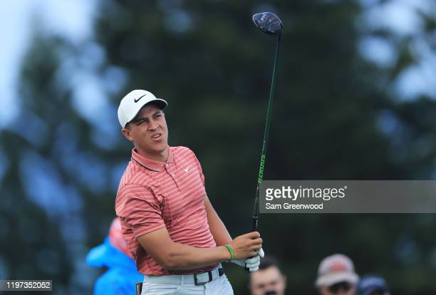 Cameron Champ of the United States plays his shot from the third tee during the second round of the Sentry Tournament Of Champions at the Kapalua...