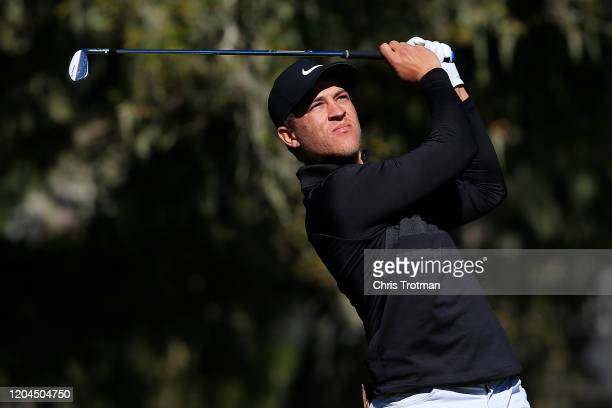 Cameron Champ of the United States plays his shot from the third tee during the first round of the ATT Pebble Beach ProAm at Monterey Peninsula...