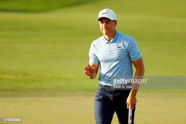 Cameron Champ of the United States reacts on the eighth green during the first round of the Arnold Palmer Invitational Presented by MasterCard at the...