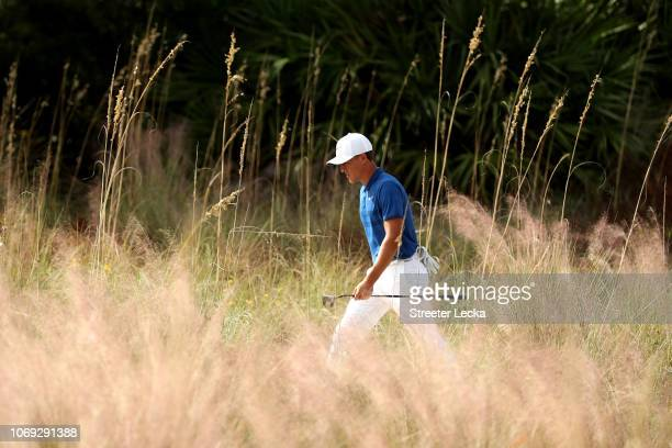 Cameron Champ of the United States walks on the sixth hole during the final round of the RSM Classic at the Sea Island Golf Club Seaside Course on...