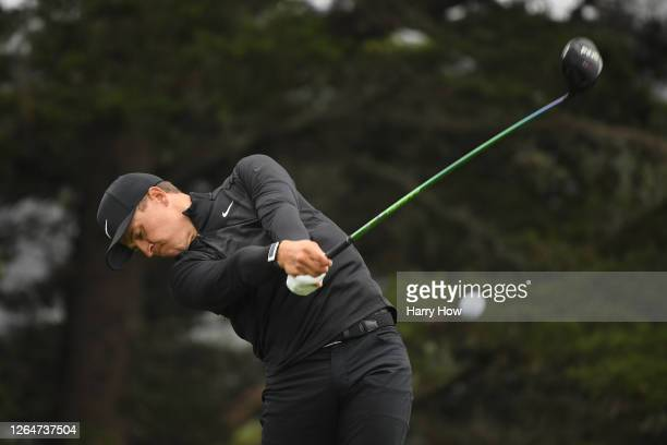 Cameron Champ on the United States plays a shot from the 14th tee during the third round of the 2020 PGA Championship at TPC Harding Park on August...