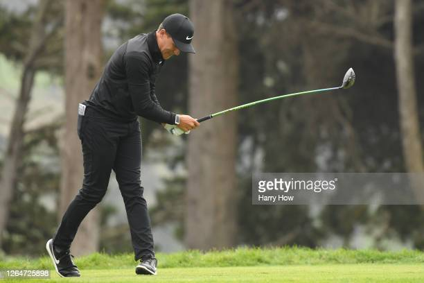 Cameron Champ on the United States reacts to his tee shot on the fourth hole during the third round of the 2020 PGA Championship at TPC Harding Park...