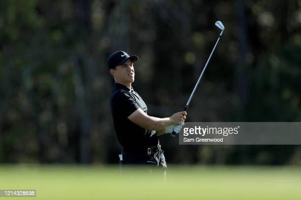 Cameron Champ plays a shot during a practice round prior to The PLAYERS Championship at the TPC Stadium course on March 11 2020 in Ponte Vedra Beach...