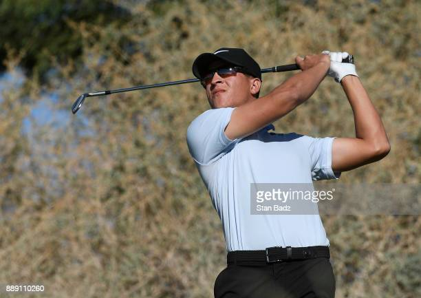 Cameron Champ plays a tee shot on the seventh hole during the third round of the Webcom Tour Qualifying Tournament at Whirlwind Golf Club on the...