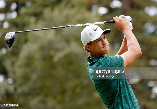 Cameron Champ plays his shot from the 12th tee during round one of the Safeway Open at the North Course of the Silverado Resort and Spa on October 4...