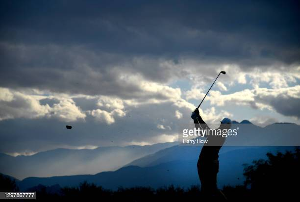 Cameron Champ plays his shot from the 17th tee during the second round of The American Express tournament on the Stadium course at PGA West on...