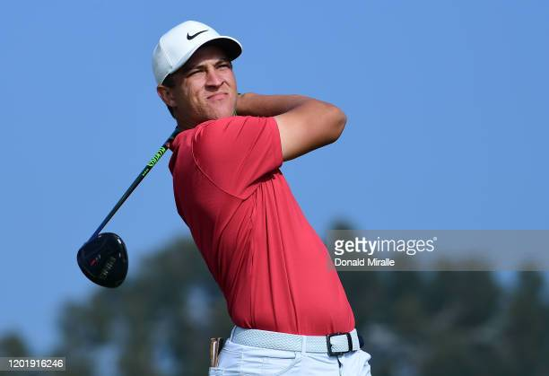 Cameron Champ plays his shot from the second tee during the third round of the Farmers Insurance Open at Torrey Pines South on January 25 2020 in San...