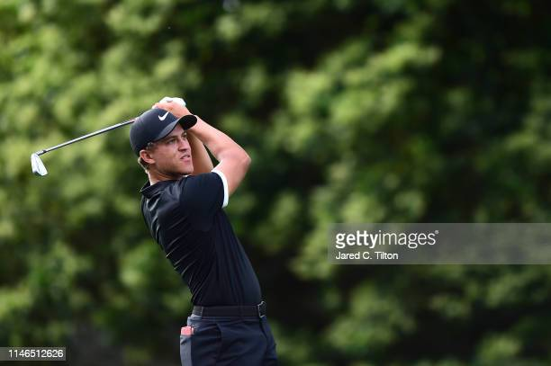 Cameron Champ plays his shot from the sixth tee during the first round of the 2019 Wells Fargo Championship at Quail Hollow Club on May 02 2019 in...