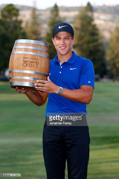 Cameron Champ poses with the trophy after winning the final round of the Safeway Open at the Silverado Resort on September 29, 2019 in Napa,...