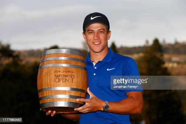 Cameron Champ poses with the trophy after winning the final round of the Safeway Open at the Silverado Resort on September 29 2019 in Napa California