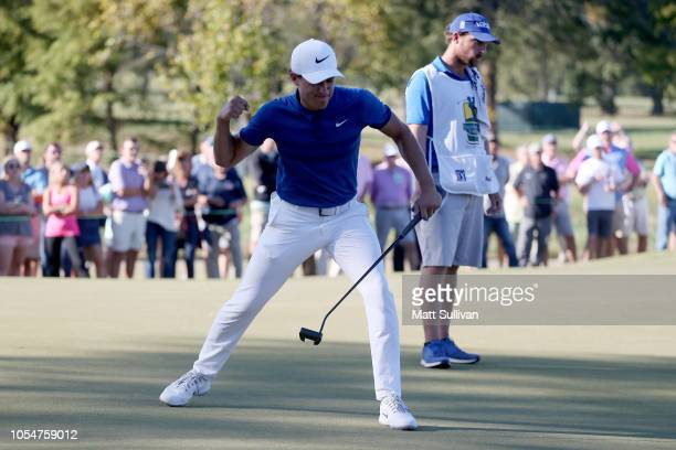 Cameron Champ reacts after making birdie on the 16th green during the final round of the Sanderson Farms Championship at The Country Club of Jackson...