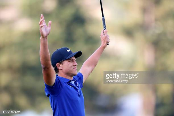 Cameron Champ reacts to winning the final round of the Safeway Open at the Silverado Resort on September 29 2019 in Napa California