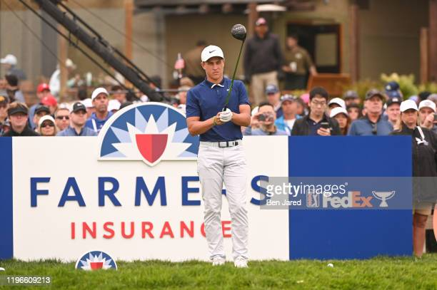 Cameron Champ stands behind his ball on the first tee during the final round of the Farmers Insurance Open at Torrey Pines South on January 26 2020...
