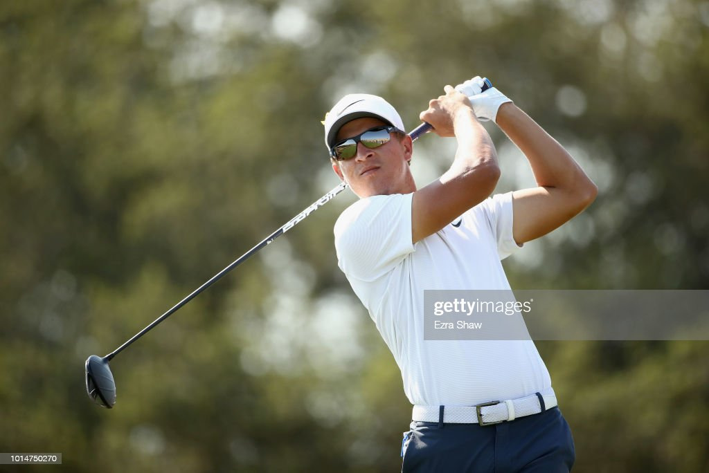 Cameron Champ tees off on the seventh hole during Round Two of the Ellie Mae Classic at TBC Stonebrae on August 10, 2018 in Hayward, California.