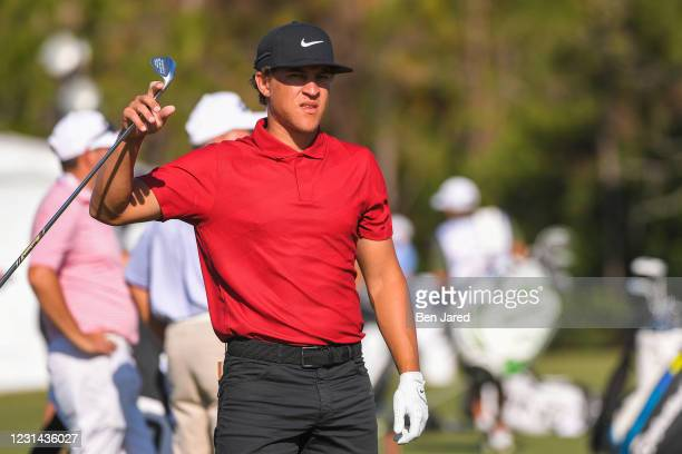 Cameron Champ warms up on the range during the final round of the World Golf Championships-Workday Championship at The Concession on February 28,...