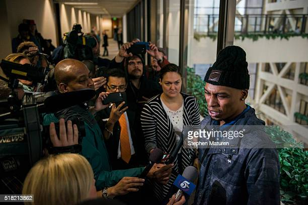 Cameron Clark cousin of Jamar Clark speaks with media members on March 30 2016 in Minneapolis Minnesota Hennepin County Attorney Mike Freeman...