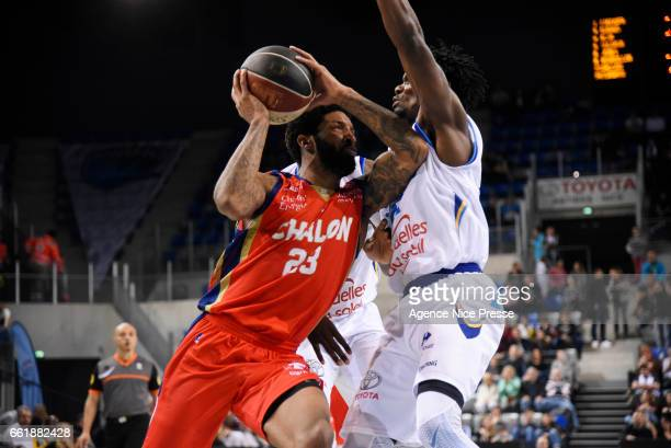 Cameron Clark of Chalon during the French Pro A match between Antibes and Chalon sur Saone on March 31 2017 in Antibes France