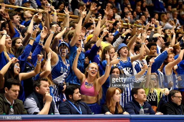 Cameron Crazies and fans of the Duke Blue Devils cheer during the game against the Wake Forest Demon Deacons in the second half at Cameron Indoor...