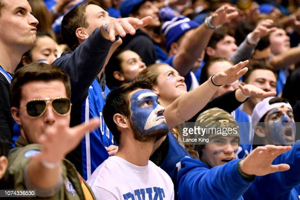 Cameron Crazies and fans of the Duke Blue Devils cheer during their game against the Yale Bulldogs at Cameron Indoor Stadium on December 8 2018 in...