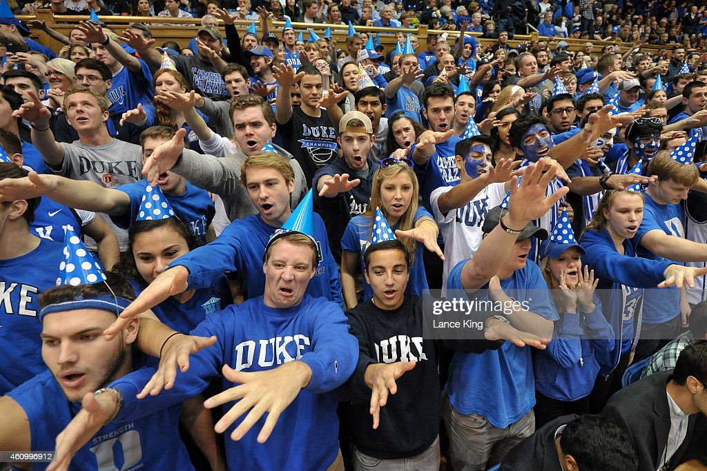 Cameron Crazies and fans of the Duke Blue Devils cheer during their game against the Boston College Eagles at Cameron Indoor Stadium on January 3, 2015 in Durham, North Carolina. Duke defeated Boston College 85-62.