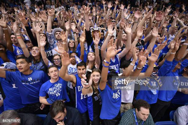 Cameron Crazies and fans of the Duke Blue Devils cheer during their game against the Wake Forest Demon Deacons at Cameron Indoor Stadium on February...