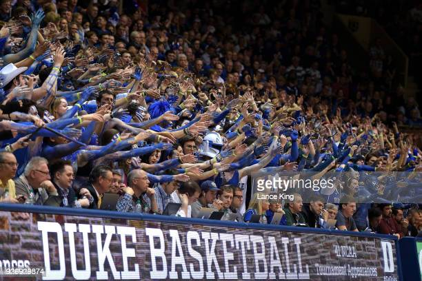 Cameron Crazies and fans of the Duke Blue Devils cheer during their game against the North Carolina Tar Heels at Cameron Indoor Stadium on March 3...