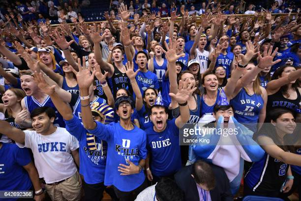 Cameron Crazies and fans of the Duke Blue Devils cheer prior to their game against the Wake Forest Demon Deacons at Cameron Indoor Stadium on...