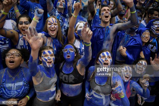 Cameron Crazies and fans of the Duke Blue Devils cheer prior to their game against the North Carolina Tar Heels at Cameron Indoor Stadium on March 3...