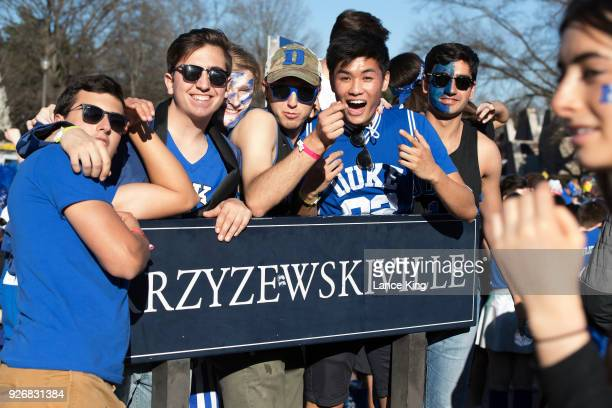 Cameron Crazies and fans of the Duke Blue Devils gather outside Cameron Indoor Stadium ahead of the game between the North Carolina Tar Heels and the...