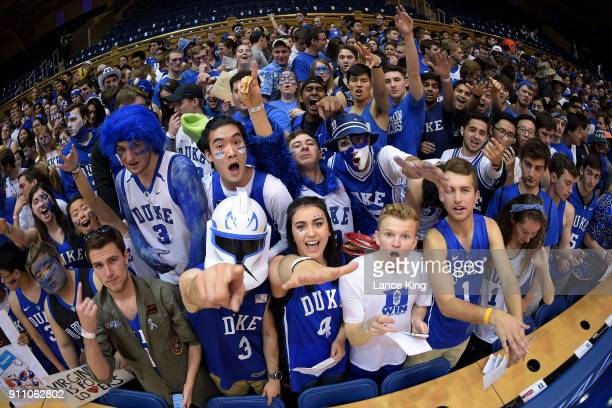 Cameron Crazies and fans of the Duke Blue Devils pose for a photo prior to their game against the Virginia Cavaliers at Cameron Indoor Stadium on...