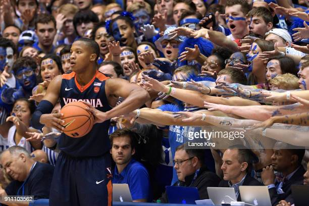 Cameron Crazies and fans of the Duke Blue Devils taunt Devon Hall of the Virginia Cavaliers at Cameron Indoor Stadium on January 27 2018 in Durham...