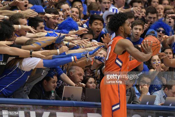Cameron Crazies and fans of the Duke Blue Devils taunt Gabe DeVoe of the Clemson Tigers at Cameron Indoor Stadium on February 11 2017 in Durham North...