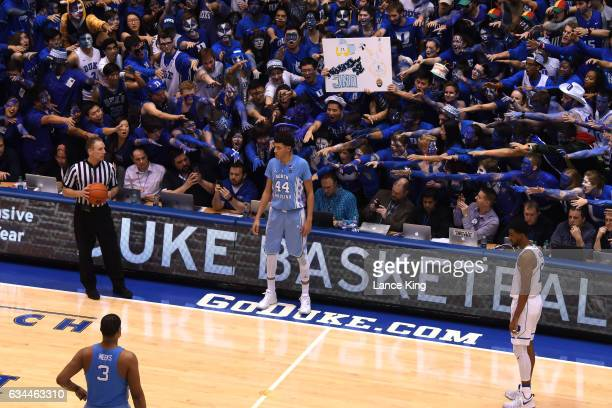 Cameron Crazies and fans of the Duke Blue Devils taunt Justin Jackson of the North Carolina Tar Heels at Cameron Indoor Stadium on February 9 2017 in...