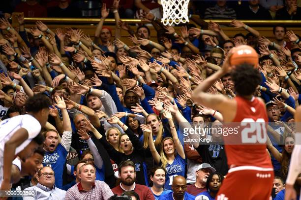 Cameron Crazies and fans of the Duke Blue Devils try to distract De'Ron Davis of the Indiana Hoosiers at Cameron Indoor Stadium on November 27 2018...