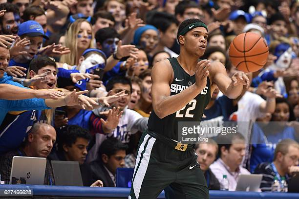 Cameron Crazies and fans of the Duke Blue Devils try to distract Miles Bridges of the Michigan State Spartans at Cameron Indoor Stadium on November...