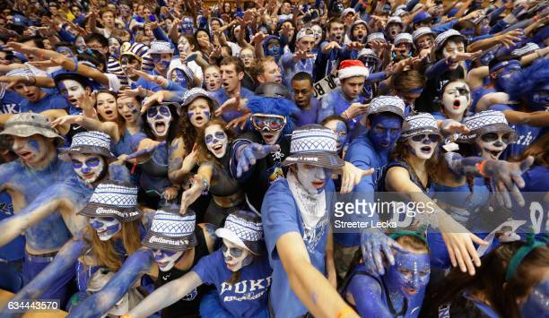 Cameron Crazies fans of the Duke Blue Devils prepare for their game against the North Carolina Tar Heels at Cameron Indoor Stadium on February 9 2017...
